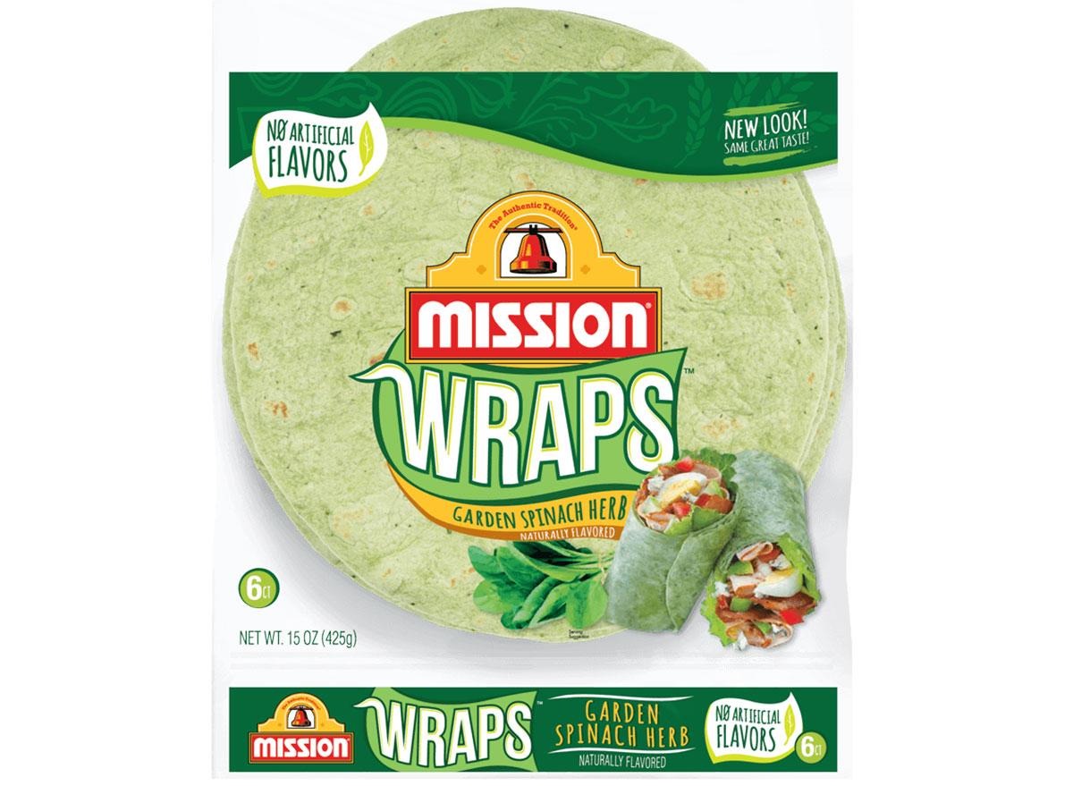 mission wraps garden spinach herb