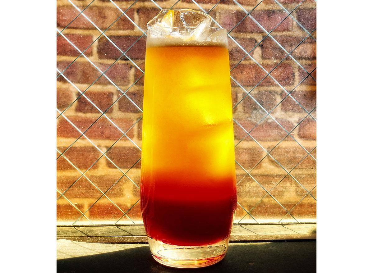 glass of oakwood sunrise mocktail recipe