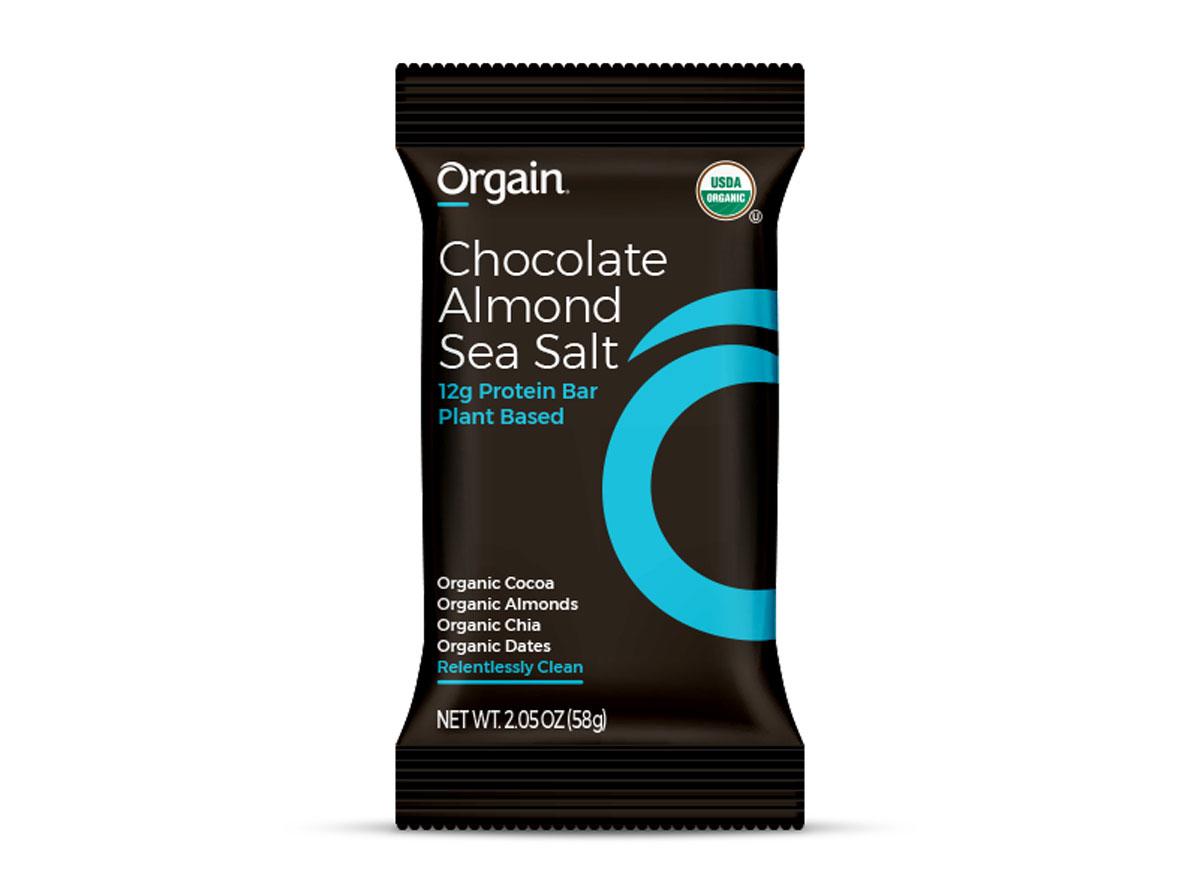 orgain chocolate almond plant based protein bar
