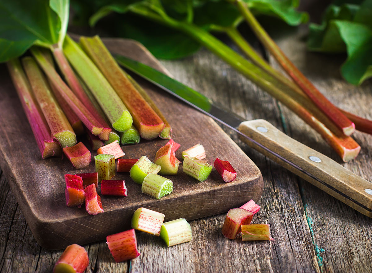 organic rhubarb on cutting board