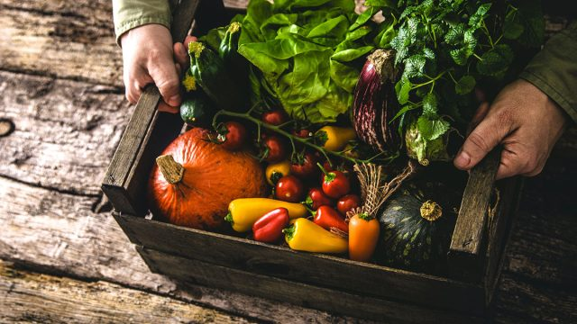 organic vegetables in wooden box