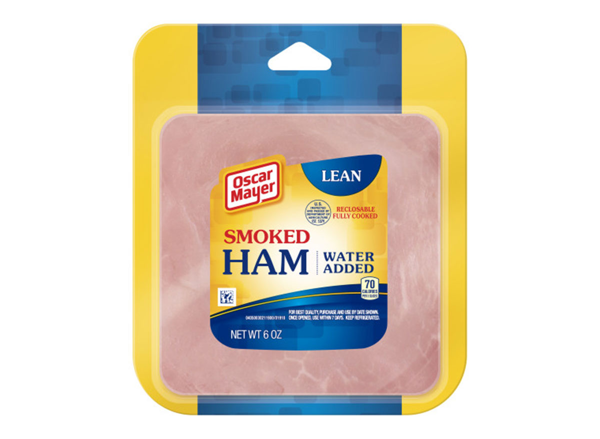 sliced oscar mayer smoked cooked ham package