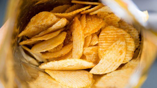 Ridge potato chips in bag