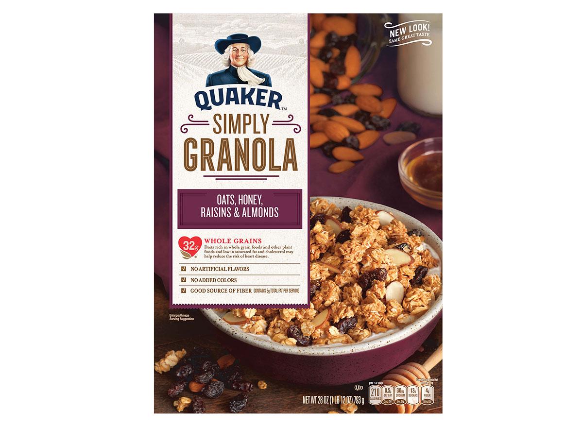 boxed quaker natural granola oats honey raisins almonds