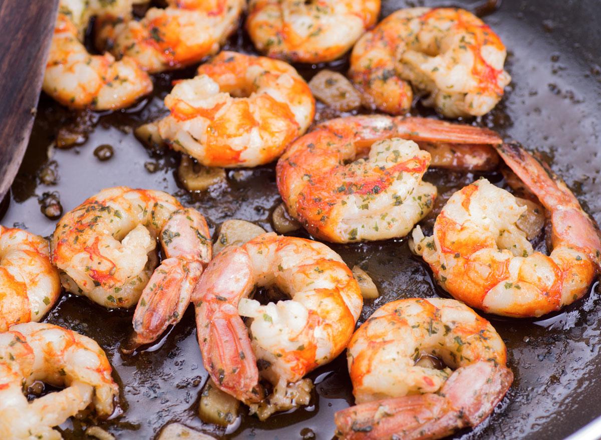 Seared garlic shrimp in pan