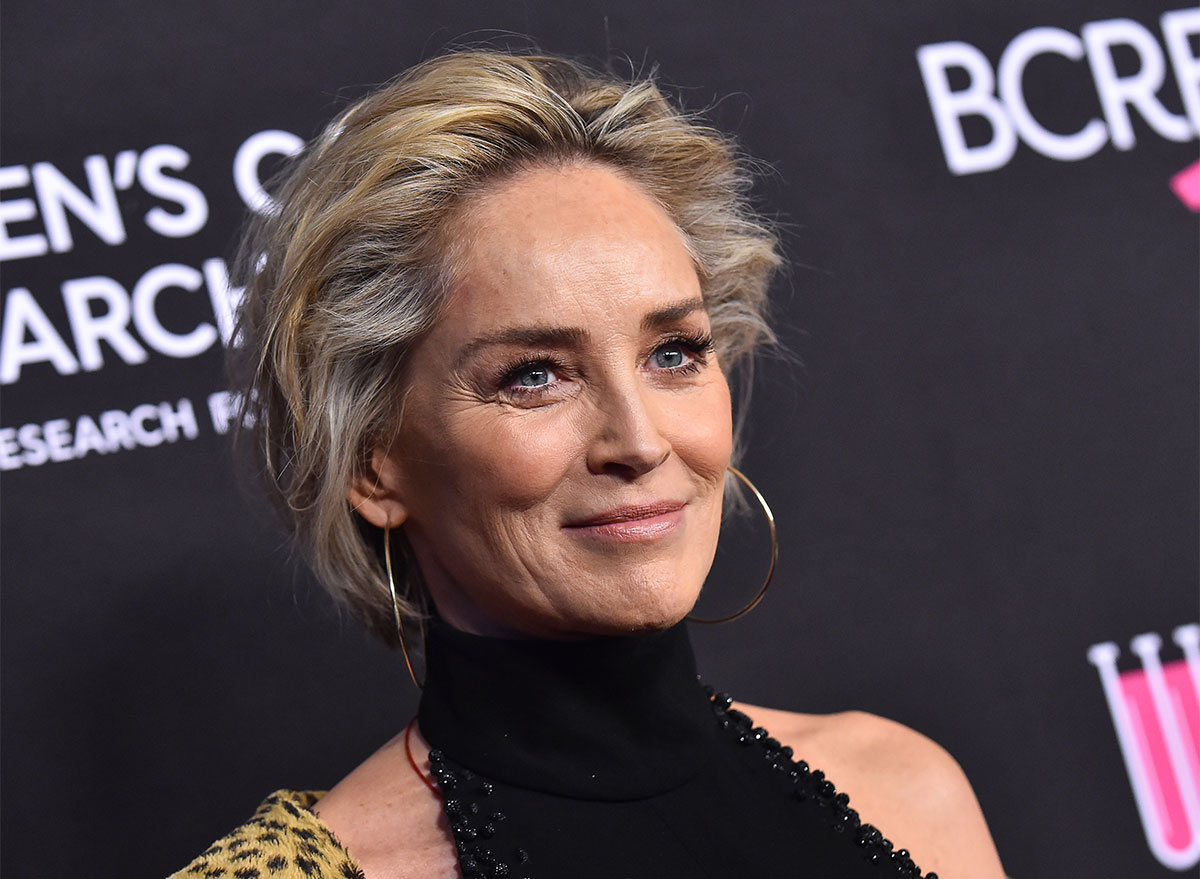 sharon stone on step and repeat red carpet