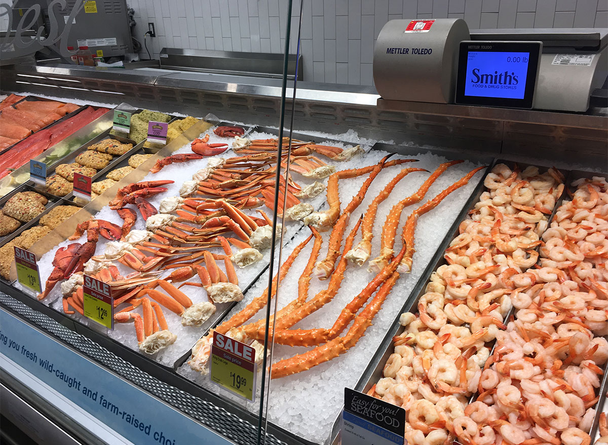 fresh shrimp and crab legs at smiths grocery store