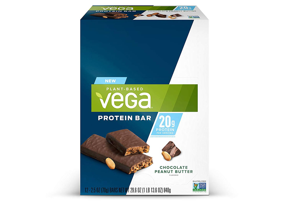 vega chocolate peanut butter plant based protein bar