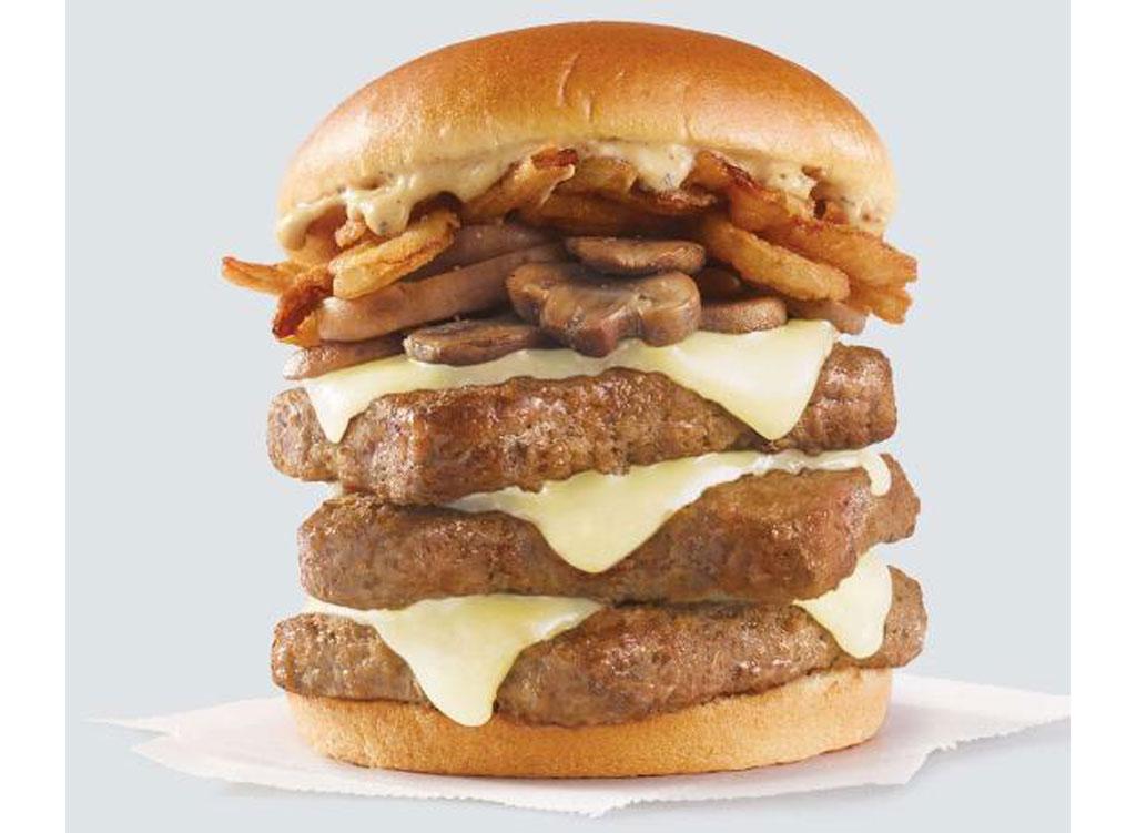 wendy's menu peppercorn mushroom burger triple