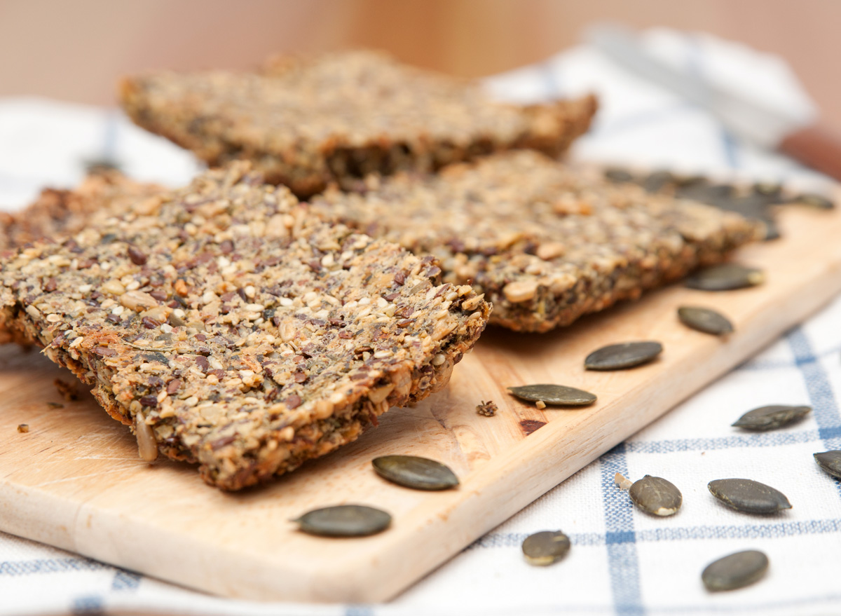 Whole grain crispbread seed crackers