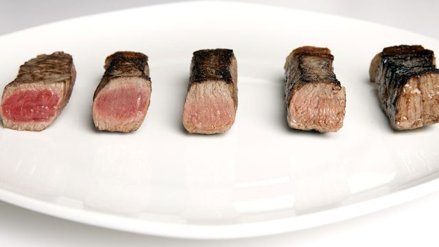 assorted cooked pieces steak