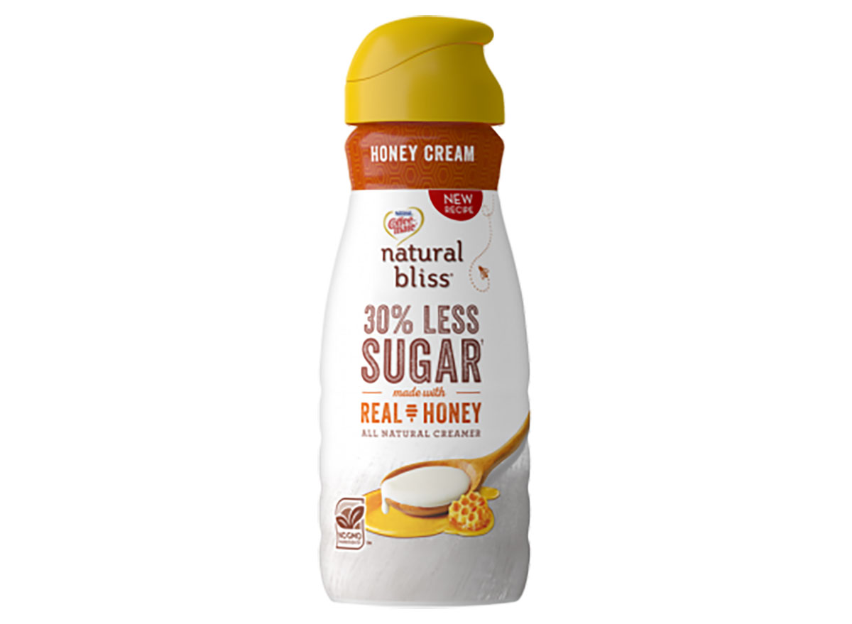 bottle of coffee mate natural bliss coffee creamer with real honey