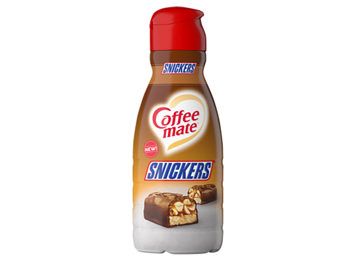 coffeemate snickers creamer bottle on white background