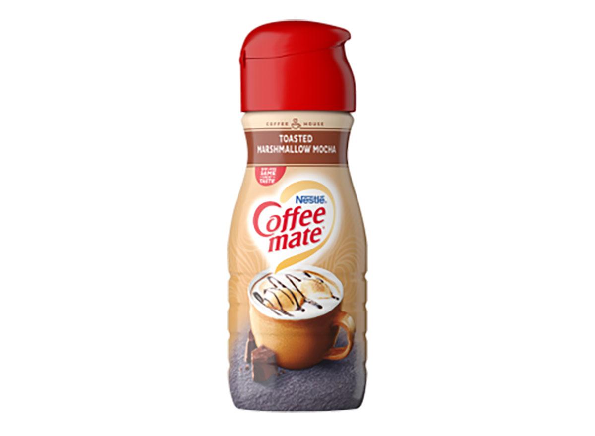 coffee mate toasted marshmallow mocha creamer bottle on white background