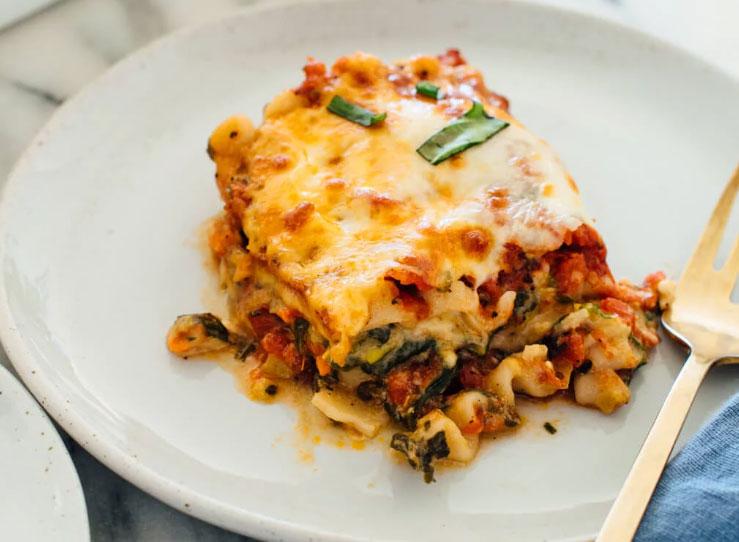 cottage cheese vegetable lasagna slice