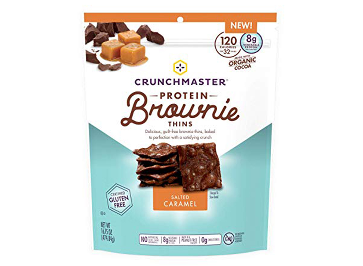 crunchmaster protein brownie thins salted caramel flavor bag