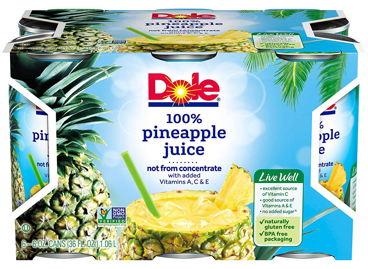 package of dole pineapple juice cans