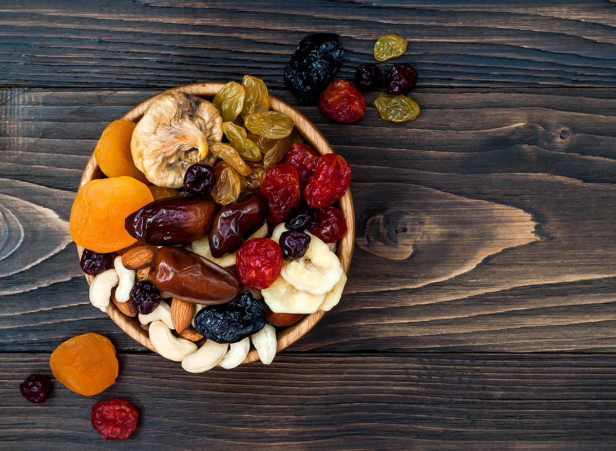 dried fruit nuts in wooden bowl