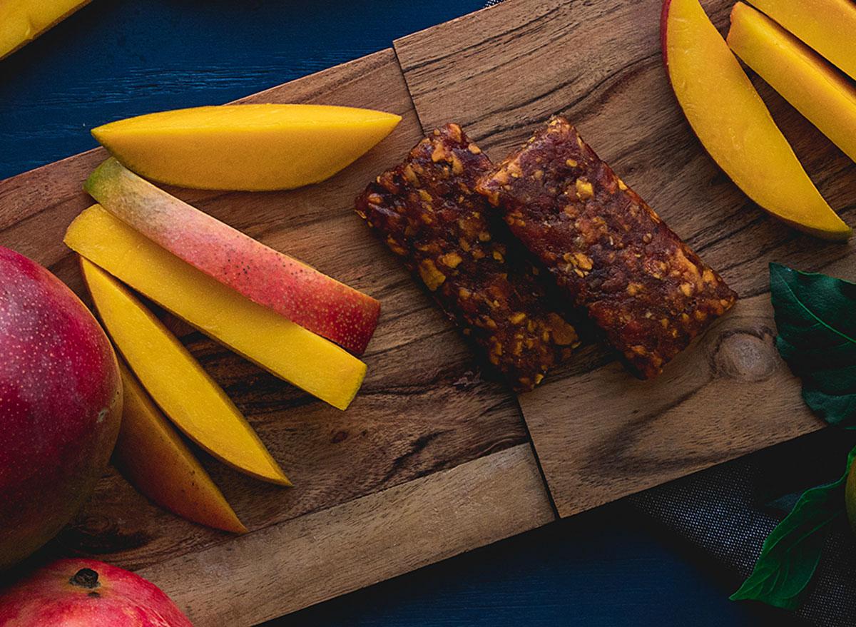 ekoa mango bars on cutting board mangos