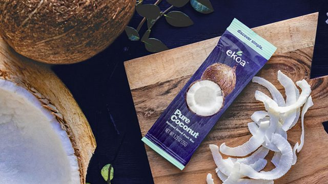 ekoa pure coconut bar on cutting board coconut