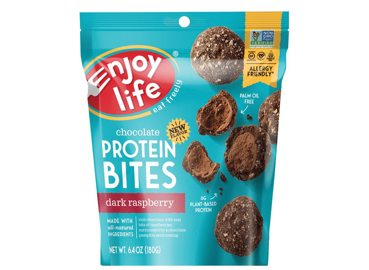 enjoy life protein bites dark raspberry bag