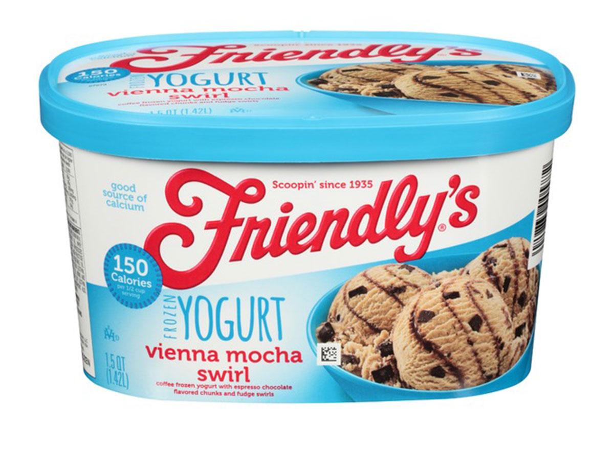 friendlys vienna mocha swirl frozen yogurt carton