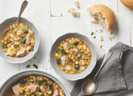 green chile pork soup and bread