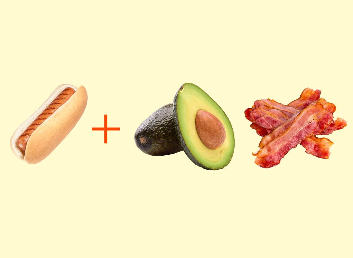hot dog avocado bacon graphic