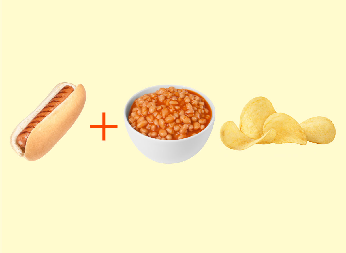 hot dog baked beans chips combo graphic