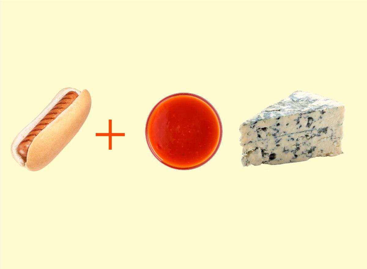 hot dog buffalo sauce blue cheese combo graphic