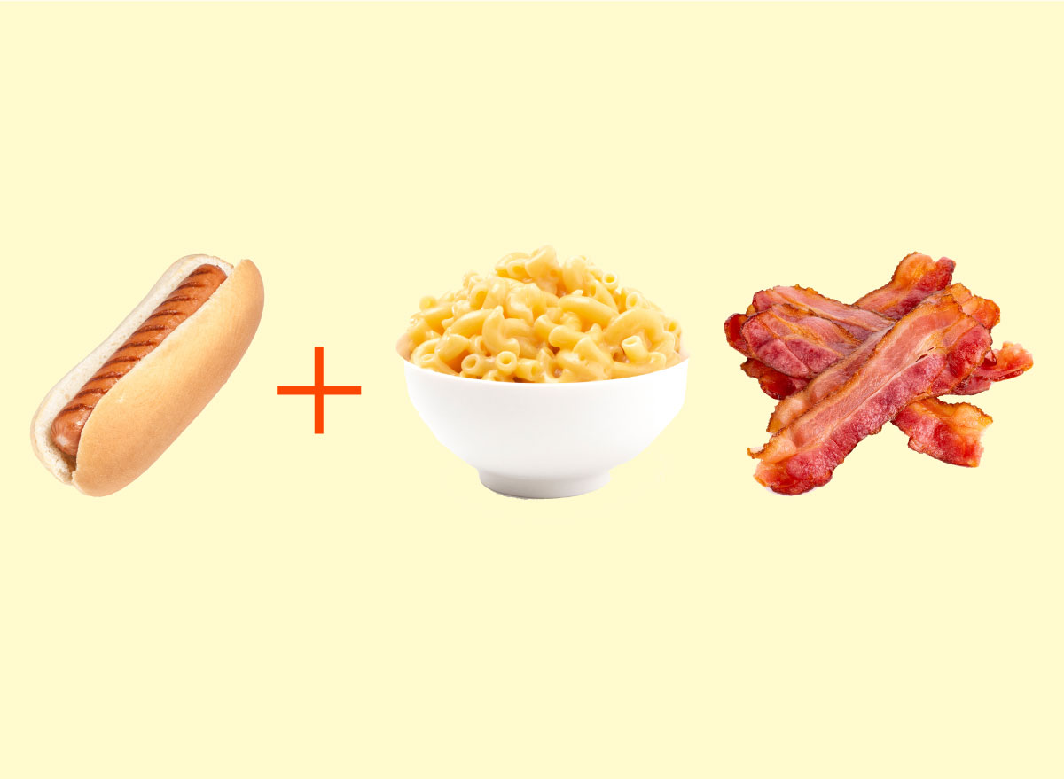 hot dog mac and cheese bacon combo graphic