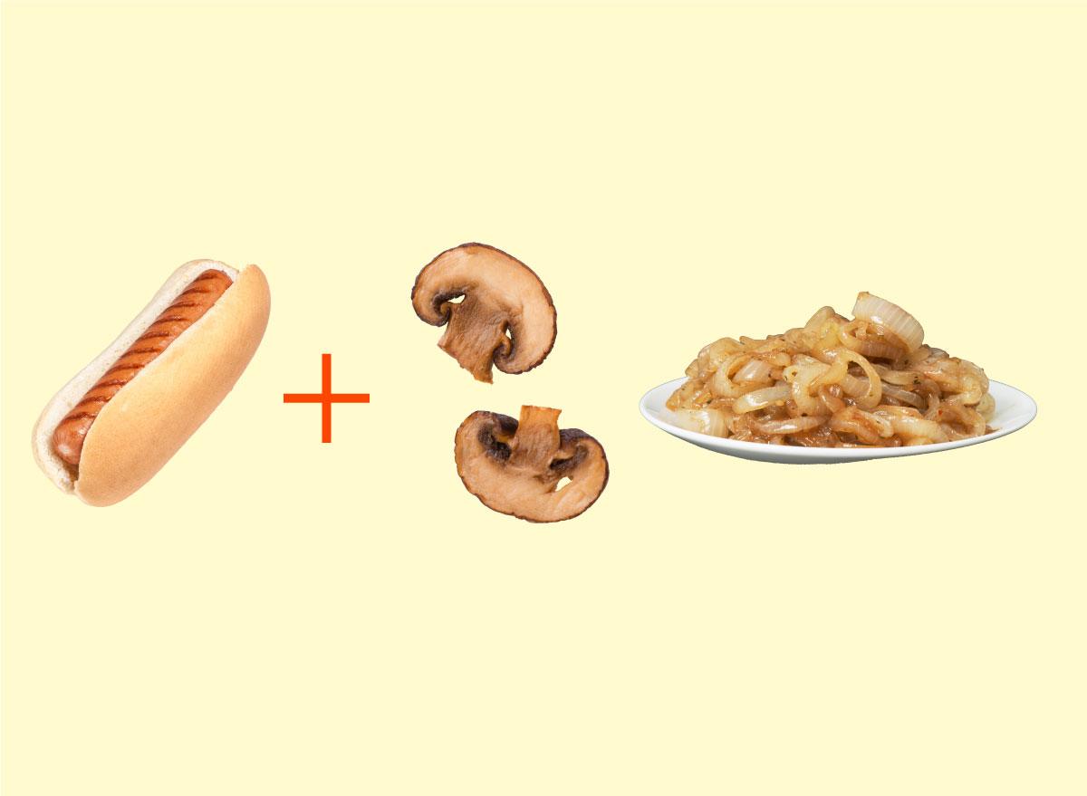 hot dog mushrooms onion combo graphic