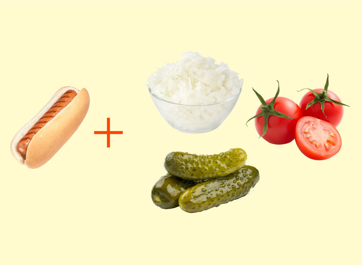 hot dog onions pickles tomatoes combo graphic
