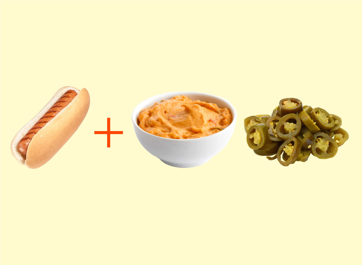 hot dog pimento cheese pickled jalapenos combo graphic