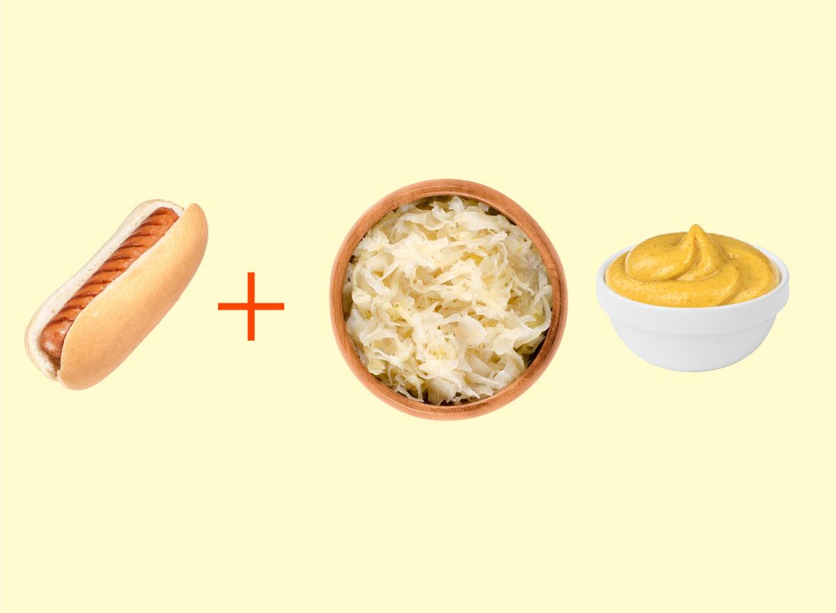 hot dog sauerkraut brown mustard combo graphic