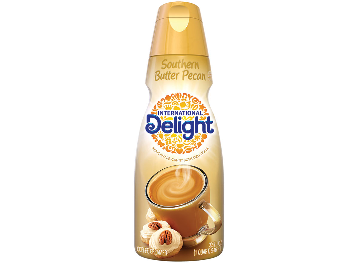 international delight southern butter pecan coffee creamer bottle on white background