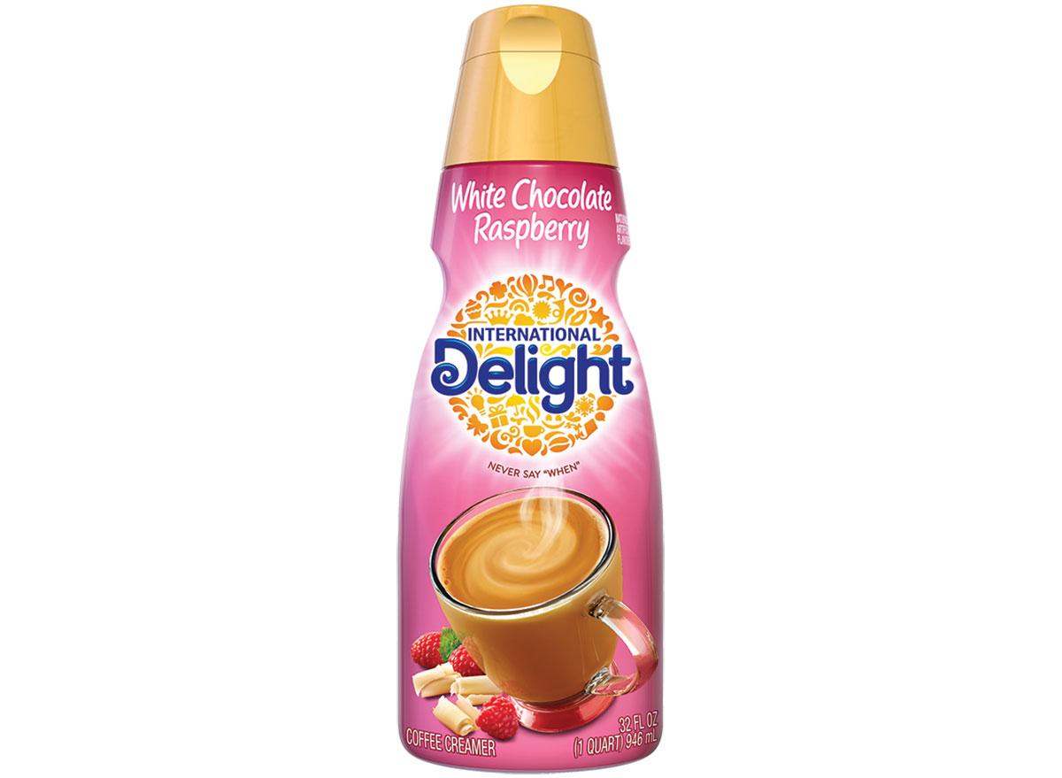 international delight white chocolate raspberry coffee creamer bottle