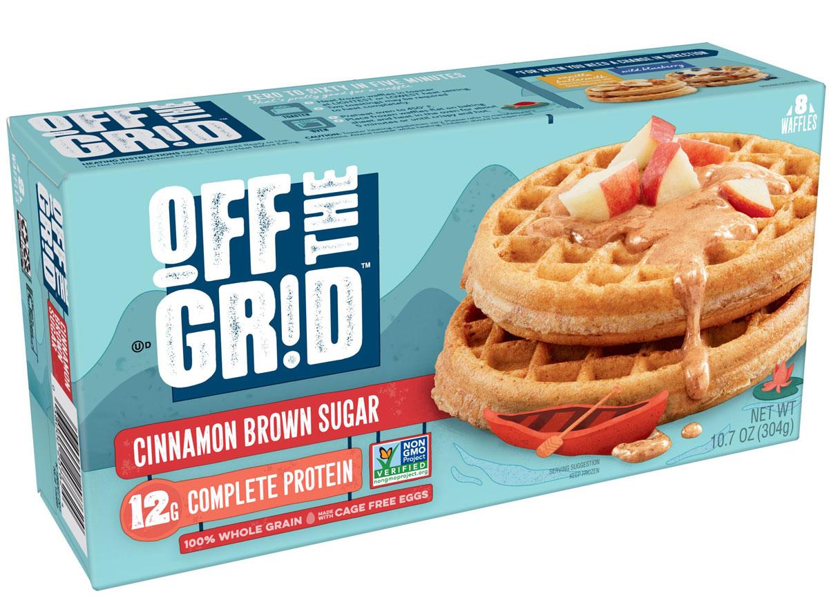 kelloggs off the grid cinnamon brown sugar waffles box