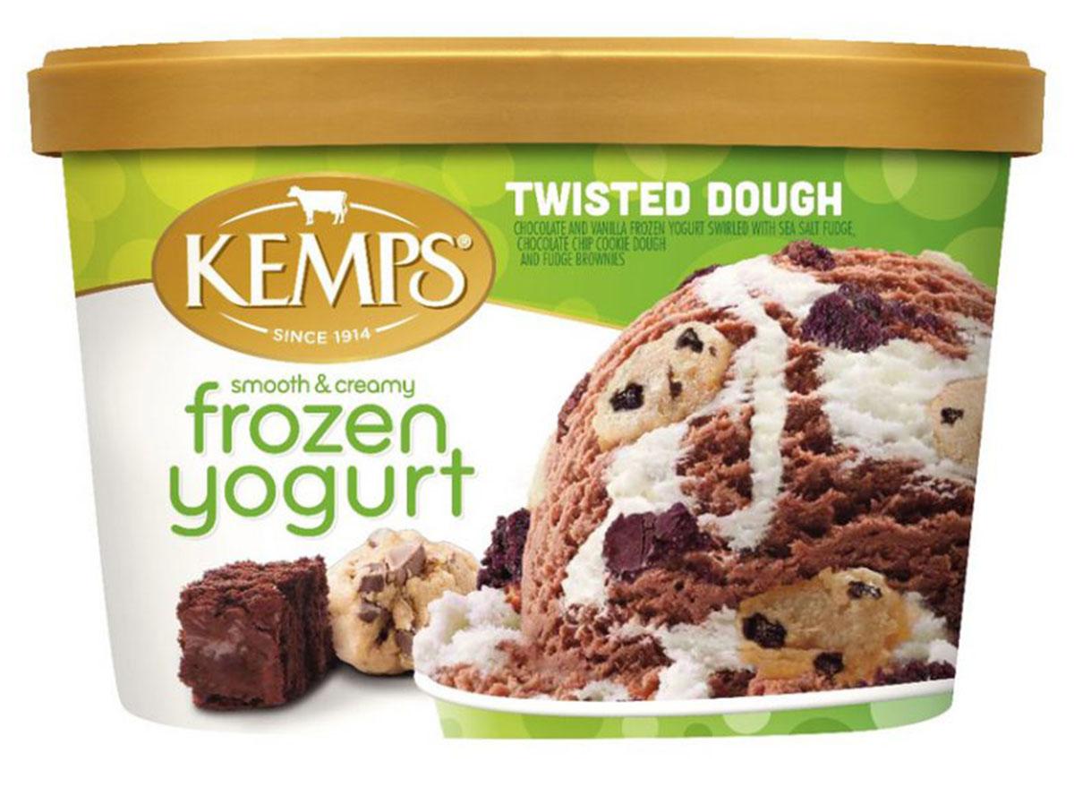 kemps twisted dough frozen yogurt carton