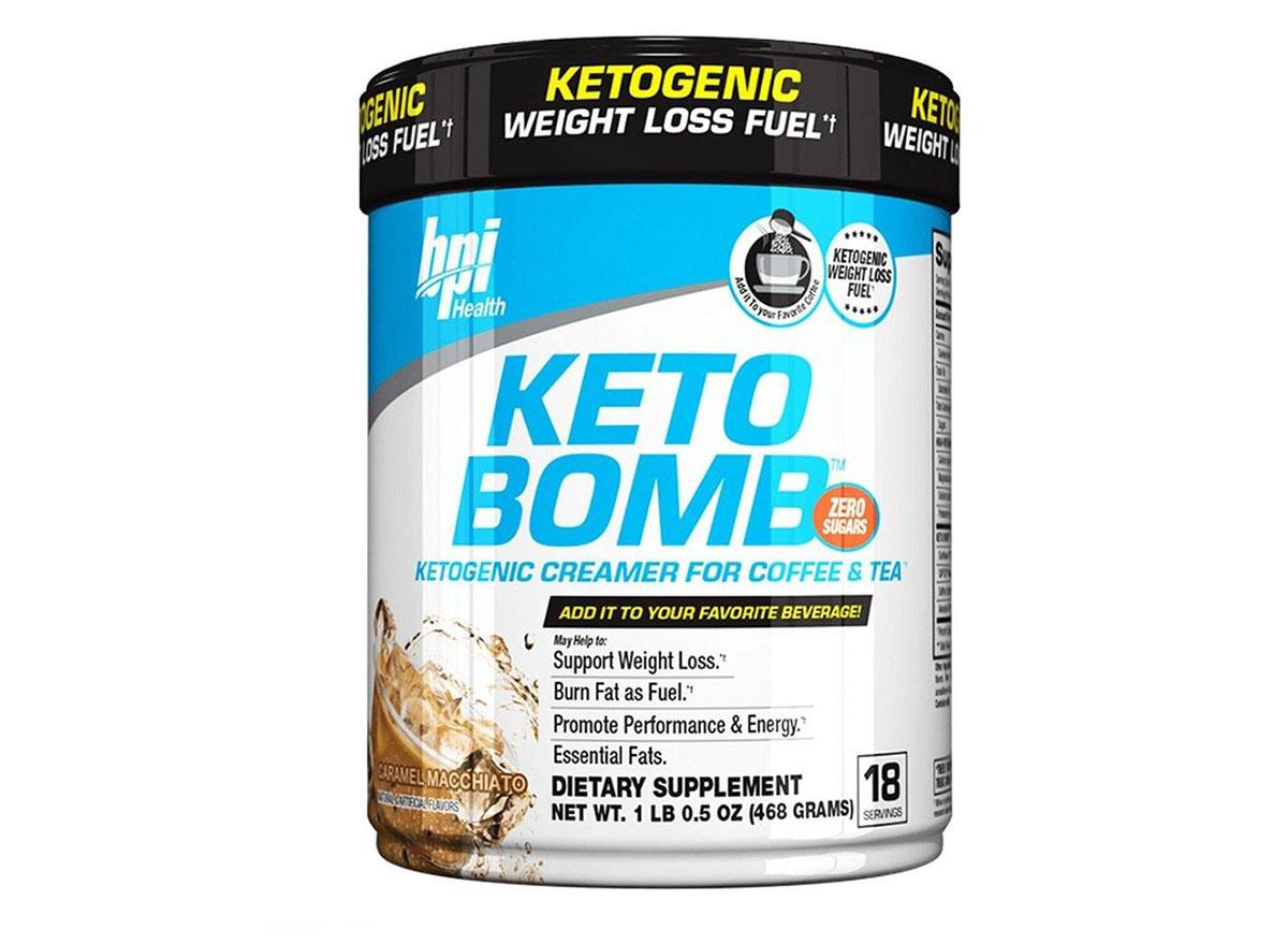 keto bomb coffee creamer tub caramel macchiato