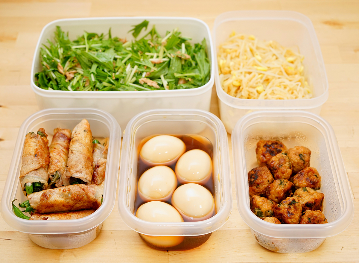 leftovers in open plastic containers