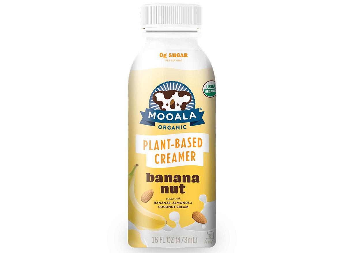 mooala plant-based creamer bottle in banana nut flavor