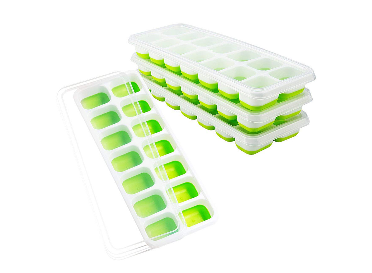 stack of omorc green plastic ice cube trays with lids