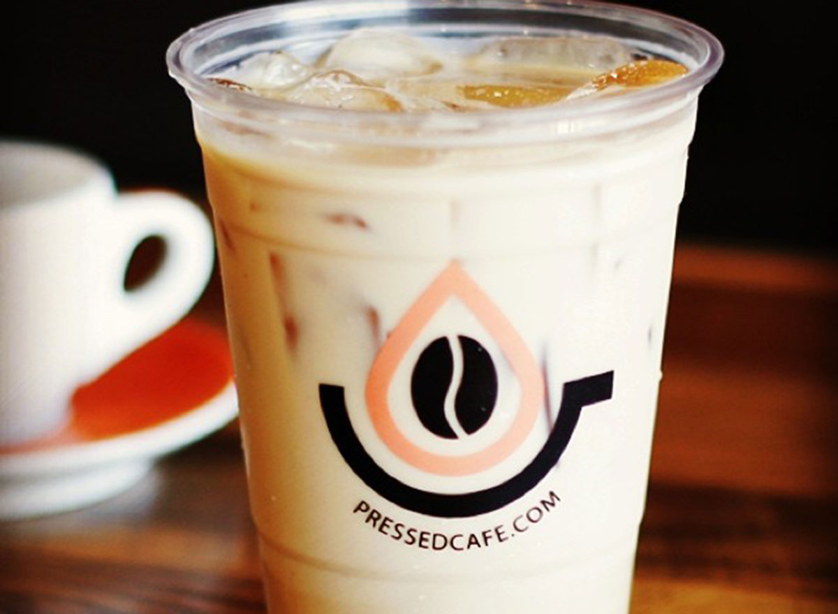 pressed cafe coffee iced cup