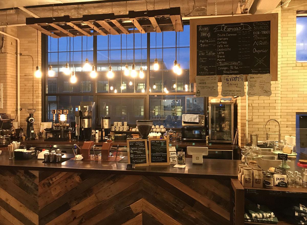 pure bean coffee shop counter