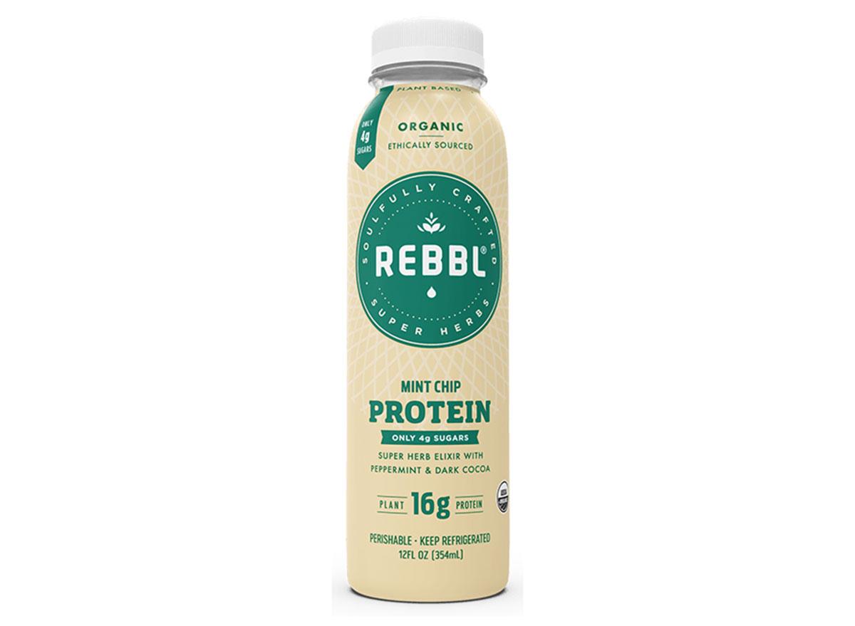 rebbl ultra low sugar mint chip protein bottle