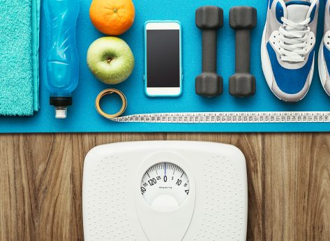 scale workout mat with workout equipment