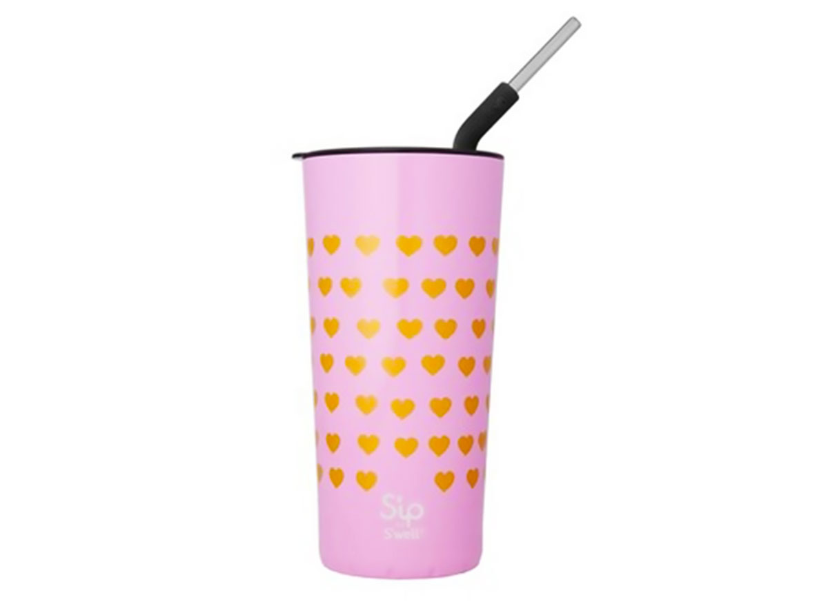 sip swell takeaway tumbler stainless steel straw bubble gum