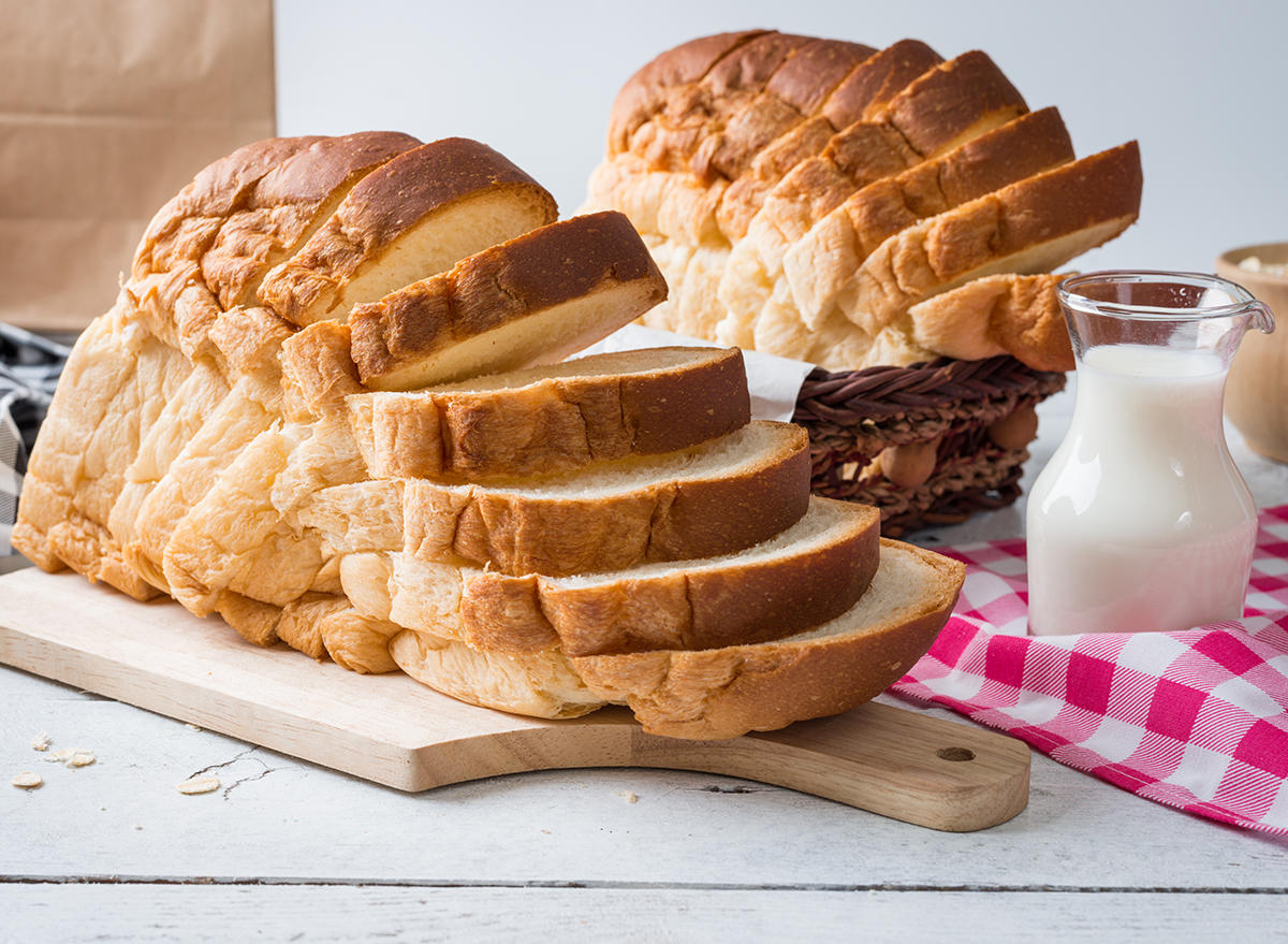 sliced bread with milk