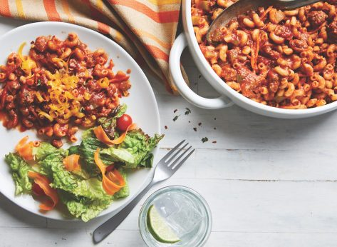 slow cooker beef goulash in a white serving dish